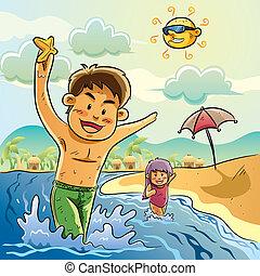 Los niños juegan en la playa