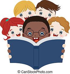 Los niños leen libros