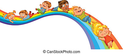 Los niños montan en un arco iris
