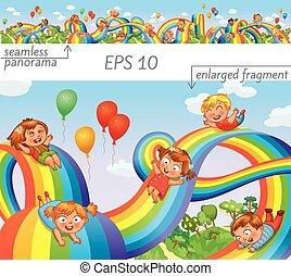 Los niños se deslizan en un arco iris