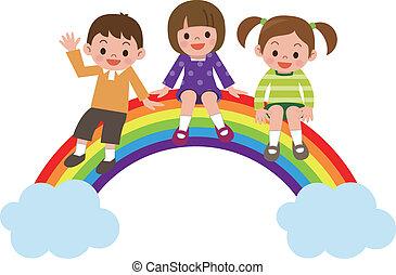 Los niños se sientan en el arco iris