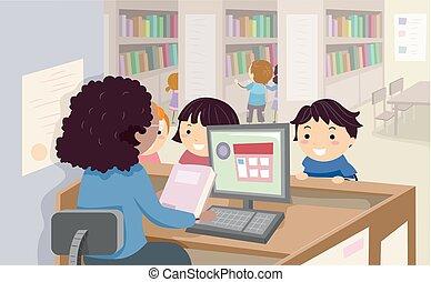 Los niños Stickman de la biblioteca piden prestadas ilustraciones de libros
