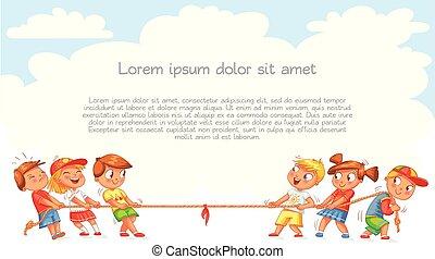 Los niños tiran de la cuerda. Niños jugando al tira y afloja