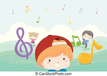 Los niños tocan notas musicales