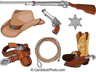 Los objetos del vaquero están listos