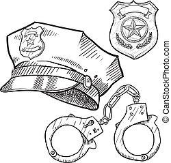 Los objetos policiales dibujan
