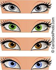Los ojos de colores femeninos miran a la cara