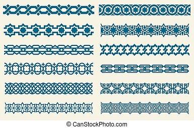 Los ornamentos islámicos unen las fronteras decorativas de vectores sin costura