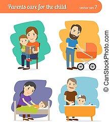 Los padres cuidan del niño