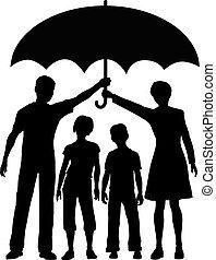 Los padres de la familia tienen un paraguas de riesgo para la seguridad del seguro