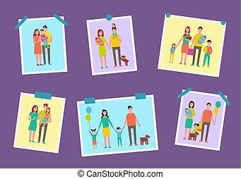 Los padres felices de la familia dibujan ilustraciones vectoriales