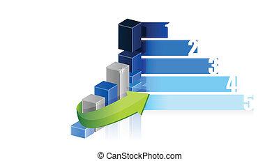 Los pasos de gráficos de negocios diseñan ilustraciones