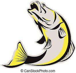 Los peces Barramundi saltando en retro aislada