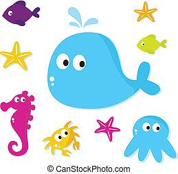 Los peces del Mar de Cartoon y los animales están aislados en el backgroun blanco
