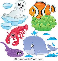Los peces marinos y los animales recogen 5