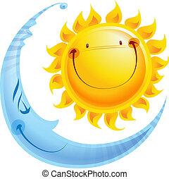 Los personajes de cartón tienen el concepto de sol y luna día y noche