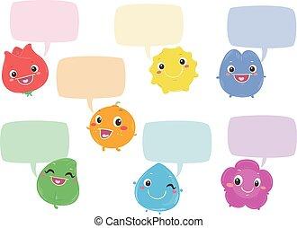 Los personajes de colores del arco iris hablan de burbujas