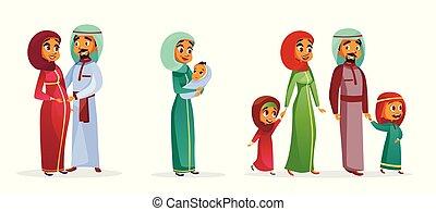 Los personajes de la familia árabe de dibujos animados de Vector