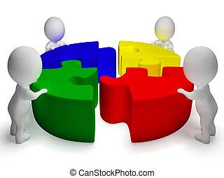 Los personajes resueltos y 3d muestran unidad y cooperación