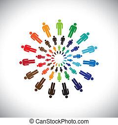 Los pintorescos grupos de gente multiétnica o comunidades se encuentran como círculos. Este vector gráfico puede representar el concepto de equipos interactuando y colaborando entre sí y también comunidades sociales globales