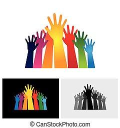Los pintorescos vectores abstractos de manos son iconos levantados juntos mostrando unidad