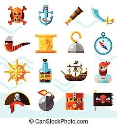 Los piratas colorean iconos