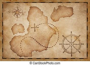 Los piratas tesoro viejo mapa