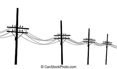 Los postes de telégrafo