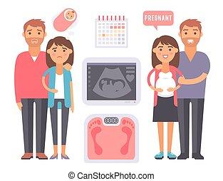 Los problemas de embarazo de infertilidad en el vector de maternidad médica señalan que la fertilización procesa herramientas fotográficas