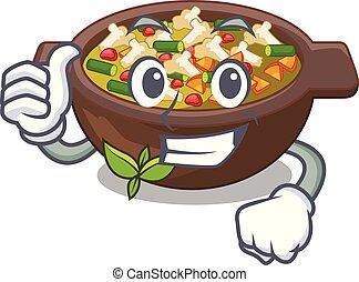 Los pulgares arriba minestrone se sirve en caricaturas