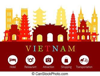 Los puntos de referencia de Vietnam con iconos de alojamiento