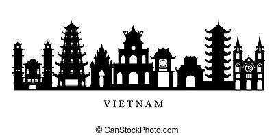 Los puntos de referencia de Vietnam en silueta en blanco y negro
