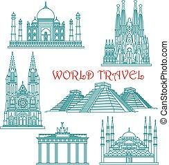 Los puntos de viaje mundial son iconos de delgada línea