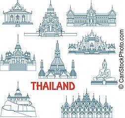 Los puntos de viaje tailandeses son iconos de delgada línea