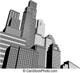 Los rascacielos de la ciudad Monocrome