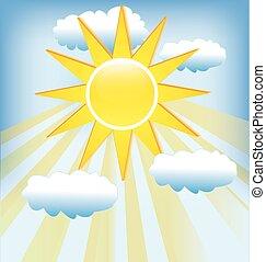 Los rayos del sol nublan el cielo azul.