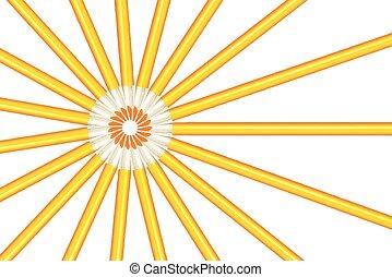 Los rayos del sol salen de lápices amarillos