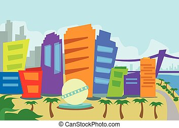 los, resumen, angeles, contorno, ciudad, rascacielos, silueta