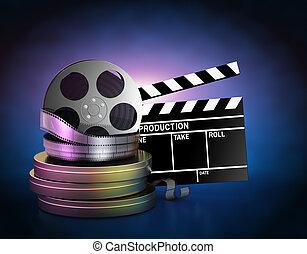 Los rollos de película y el claque de cine