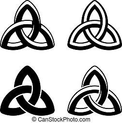 Los símbolos blancos negros del nudo celta Vector