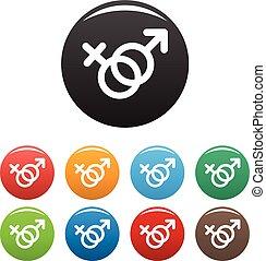 Los símbolos de género femeninos y masculinos marcan vector