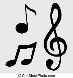 Los símbolos de ilustración de vectores musicales