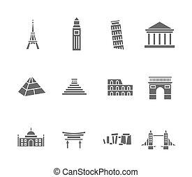 Los símbolos de la silueta del mundo