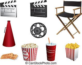 Los símbolos del cine están aislados en blanco