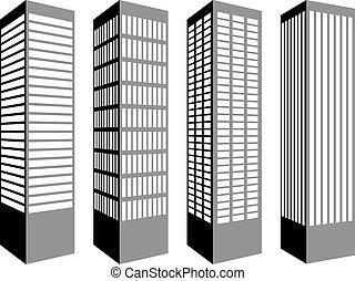 Los símbolos del vector rascacielos