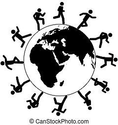 Los símbolos globales internacionales corren alrededor del mundo