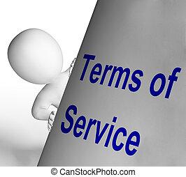 Los términos de la señal de servicio muestran un acuerdo de usuario y proveedor