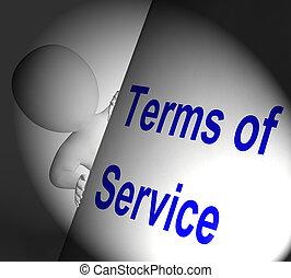 Los términos del signo de servicio muestran un acuerdo de usuario y proveedor