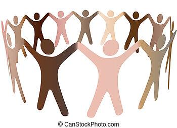 Los tonos de piel humana se mezclan en el círculo de gente diversa