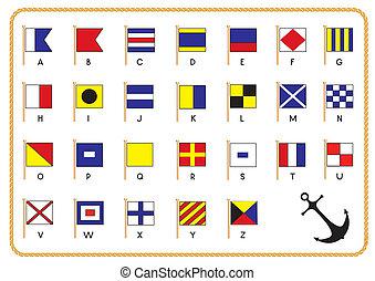 Los vectores señalan banderas náuticas y anclan